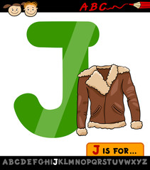 letter j with jacket cartoon illustration