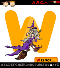 letter w with witch cartoon illustration
