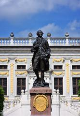 Goethe Statue vor der alten Handelsbörse in Leipzig Sachsen
