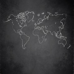 World map blackboard chalkboard vector