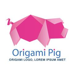 Origami pig, pig logo, pink pig