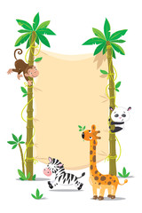 Banner on two palm tree with small funny animals