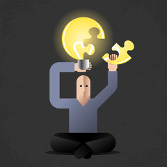 Cartoon man in lotus position with lightbulb as new idea symbol
