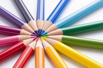 円形に並べた色鉛筆