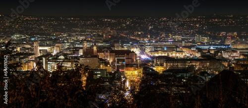 canvas print picture Stadt Stuttgart bei Nacht