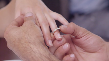 Man placing ring on womans finger