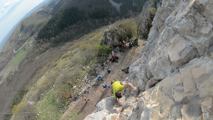 Romanian climber Mihnea Prundean climbing  in Turzii Gorge