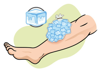 First Aid ice pack on the leg