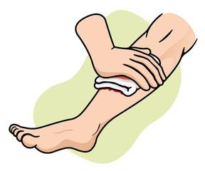 Aid First stop bleeding in leg