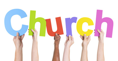 Multiethnic Hands Holding Text Church