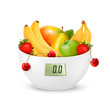 Fruit with in a digital weight scale. Diet concept. Vector.