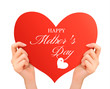 Mother day background Two hands holding red heart.