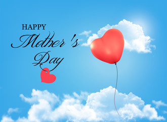 Mother day background. Holiday heart-shaped balloon in a blue sk