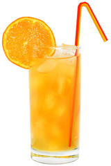 Cocktail with orange juice and ice cubes.