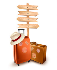 Two travel suitcases and a direction sign. Vector illustration.