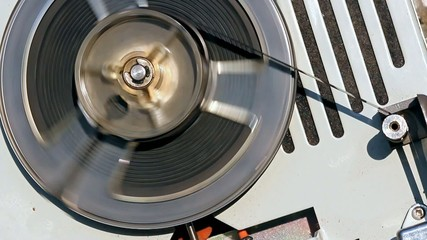 Analog Audio Tape Reel In Operation Closeup