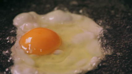 Egg cooks on frying pan