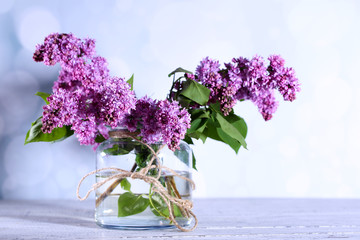 Beautiful lilac flowers in vase,