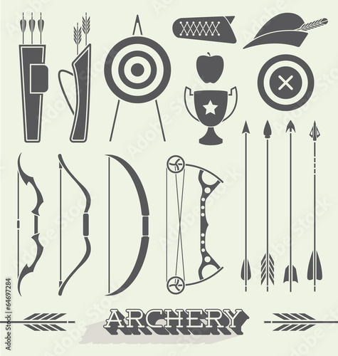 Fototapeta Vector Set: Archery Icons and Silhouettes