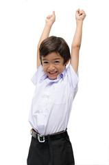 Little boy in uniform ready for school hands up