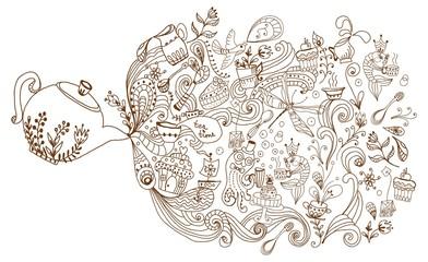 tea time background, doodle illustration