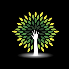 eco friendly icon human hand as tree with green leaves - concept