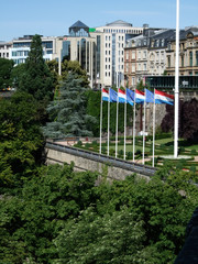Flags of Luxembourg at a fort, Luxembourg City, Luxembourg