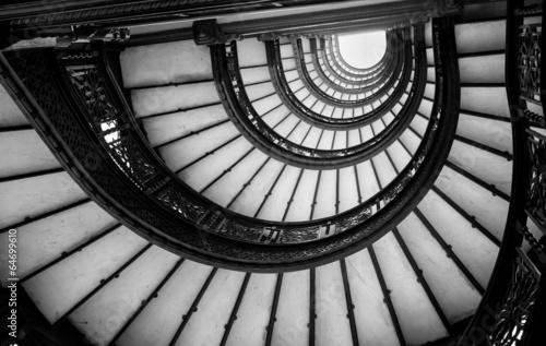 Poszter Low angle view of spiral staircase, Chicago, Cook County, Illino