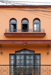 Colonial style balcony of a house, Peru