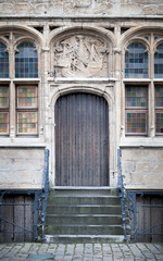 Facade of a house, The Graslei, Ghent, Belgium