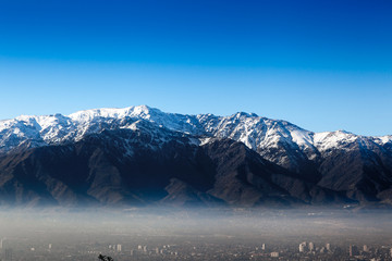 Aerial view of a city with mountain in the background, Andes, Sa