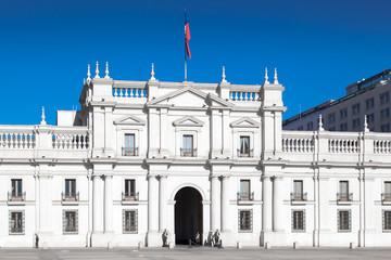 Facade of a parliament building, Palacio de la Moneda, Santiago,