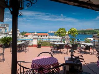 Restaurant with sea in the background, Havana Bay, Havana, Cuba