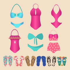 Summer colorful set of flip-flops and swimsuits isolated