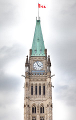 Clock tower in a parliament building, Peace Tower, Centre Block,