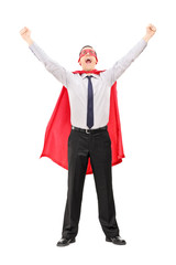 Male superhero raising his hands out of joy