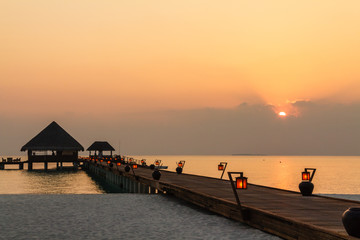 Sunset and long bridge,Maldives