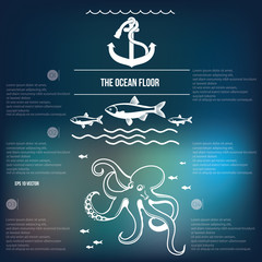 ocean floor , anchor ,octopus , fish