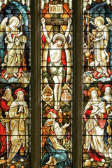 stained glass window showing the crucifixion