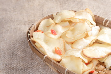 Chips Cassava at natural sack cloth