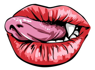 Licking sexy red lips illustration