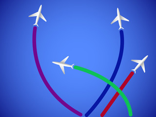 Four airplanes and lines