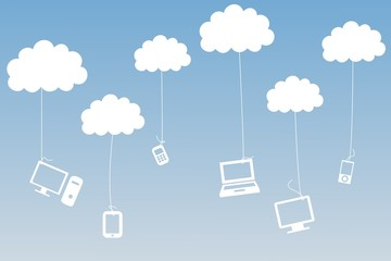 Media devices hanging from clouds
