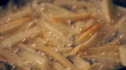 French fries cooking in boiling oil