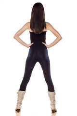 rear view of skinny young girl in tights