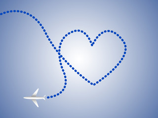Airplane and heart