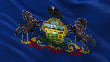 US state flag of Pennsylvania waving in the wind - seamless loop