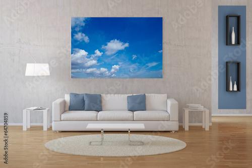 canvas print picture Interior von Wohnzimmer mit Foto auf Leinwand