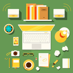 Illustration of workplace of writer, blogger