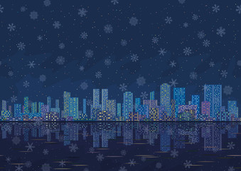 Night city landscape with snowflakes, seamless